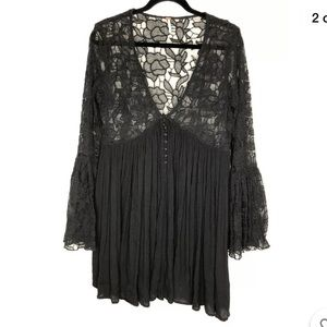 Free People Womens Black Lace Bodice Tunic Top